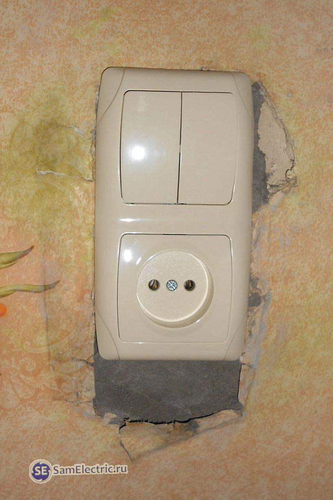 Установка блока двойного выключателя с розеткой
