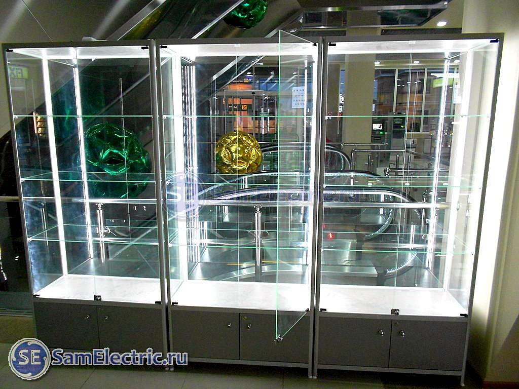 Освещение стеклянной витрины светодиодной лентой