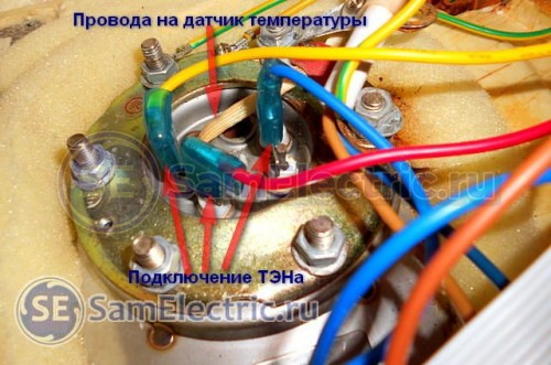 Устройство накопительного водонагревателя. Выводы ТЭНа и термодатчика.