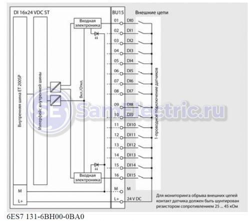 DI 16x24VDC ST. Входы контроллера, на один из которых приходит сигнал с двух выходов