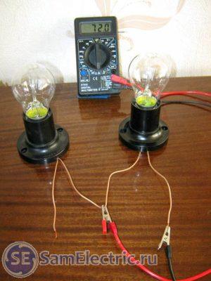 Измерение сопротивления первой лампочки. 72 Ом.