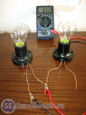 Измерение сопротивления второй лампочки. 65,2 Ом.