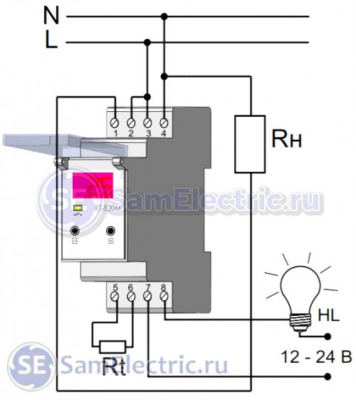 Регулятор температуры RT-820M, монтажная схема