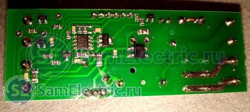 Электронная схема терморегулятора ФиФ, вид со стороны пайки