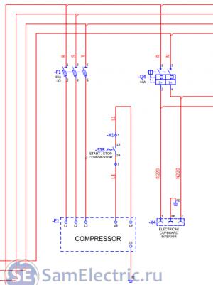 Подключение компрессора в составе другого оборудования