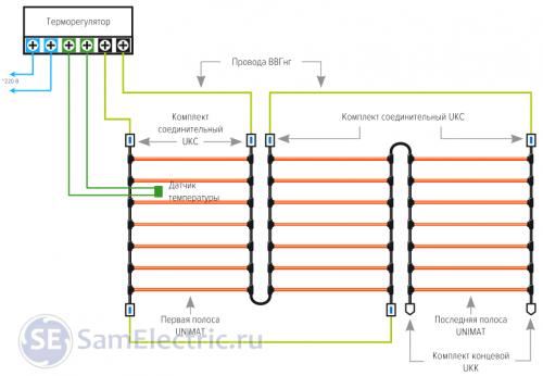 Электрическая схема подключения теплого пола