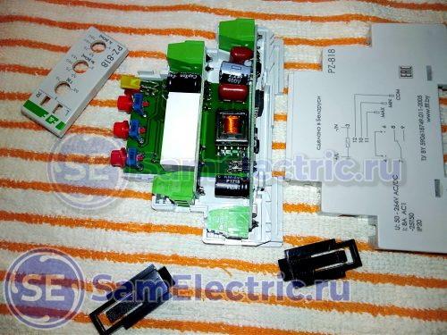 Внутреннее устройство реле контроля уровня PZ-818