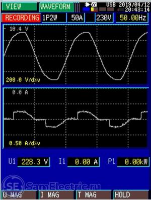График напряжения и тока